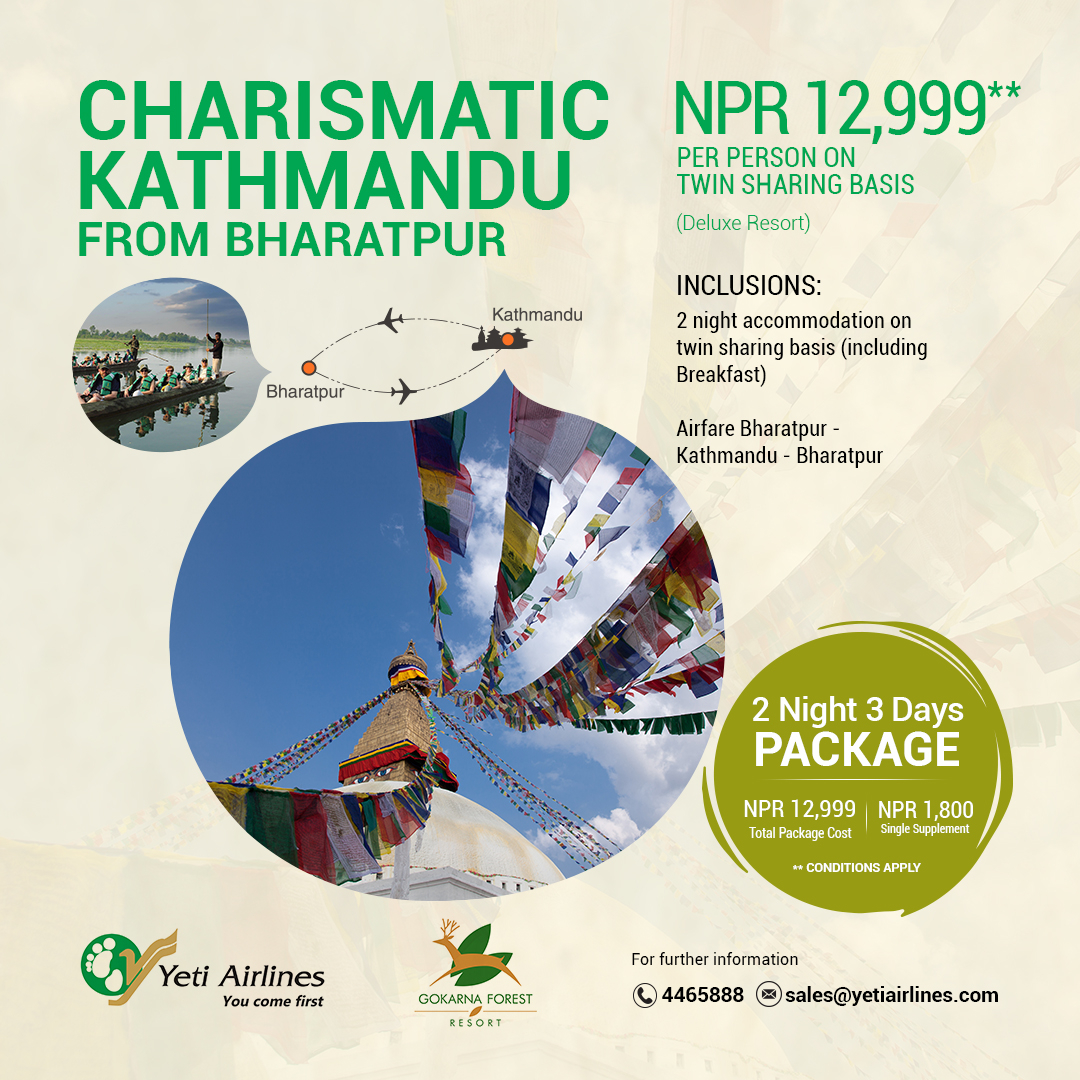 Charismatic Kathmandu from Bharatpur - Deluxe Resort