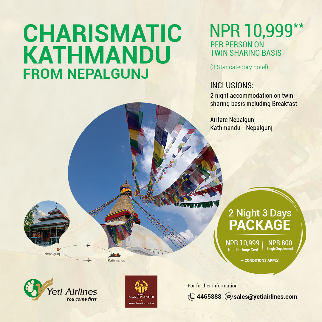 Charismatic Kathmandu from Nepalgunj - 3 Star category hotel
